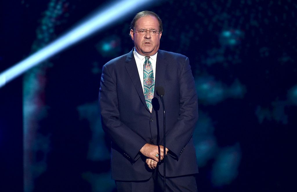 . Chris Berman introduces the In Memoriam tribute at the ESPY Awards at the Nokia Theatre on Wednesday, July 16, 2014, in Los Angeles. (Photo by John Shearer/Invision/AP)