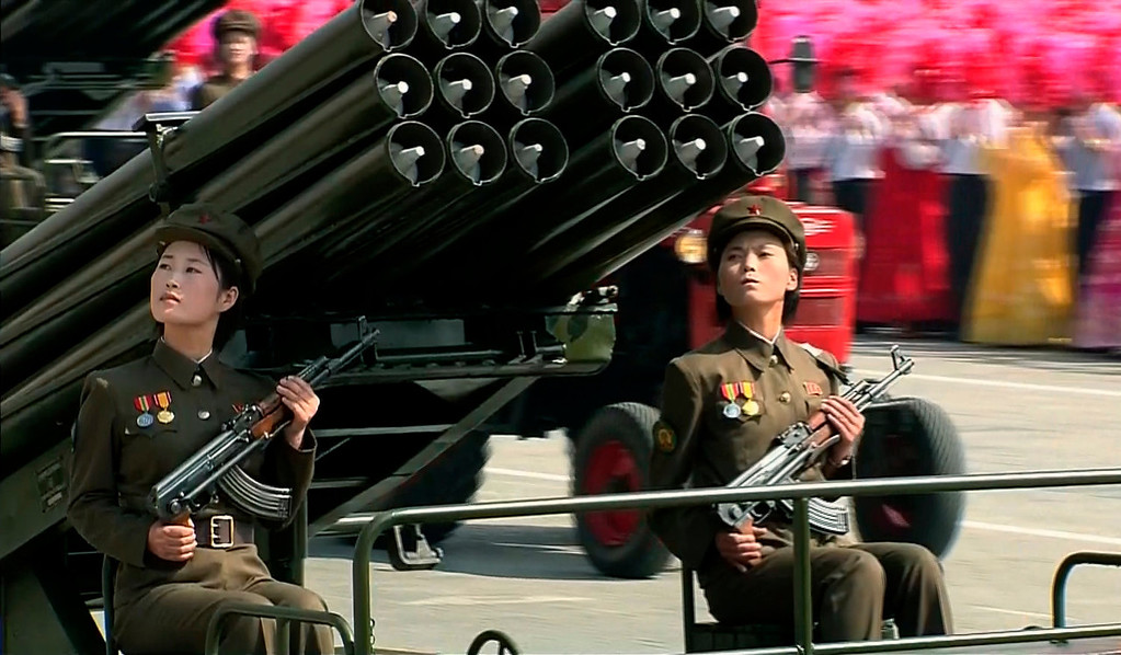 . In this image taken from video North Korean soldiers participate in a military parade marking the 65th anniversary of the country\'s founding, Monday, Sept. 9, 2013, in Pyongyang, North Korea. (AP Photo/KRT via AP Video)