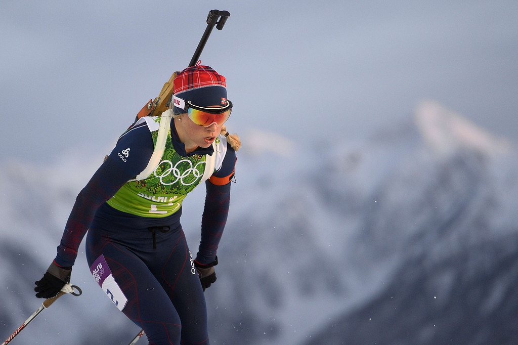 . Norway\'s Tiril Eckhoff competes in the Biathlon mixed 2x6 km + 2x7,5 km Relay at the Laura Cross-Country Ski and Biathlon Center during the Sochi Winter Olympics on February 19, 2014 in Rosa Khutor near Sochi.  AFP PHOTO / PIERRE-PHILIPPE  MARCOU/AFP/Getty Images