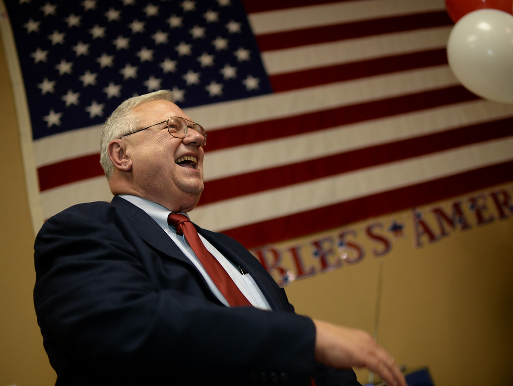 . COLORADO SPRINGS, CO - September 10 : Bernie Herpin of Senate district 11, celebrates his campaign win at Colorado El Paso County Republican Party Headquarters. Colorado Springs, Colorado. September 10, 2013. (Photo by Hyoung Chang/The Denver Post)