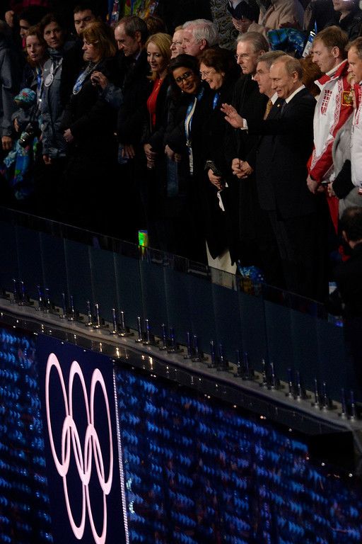 . President Vladimir Putin waves to the crowd during closing ceremony for the Sochi 2014 Winter Olympics. Sochi 2014 Winter Olympics on Sunday, February 23, 2014 at Fisht Olympic Stadium. (Photo by AAron Ontiveroz/ The Denver Post)