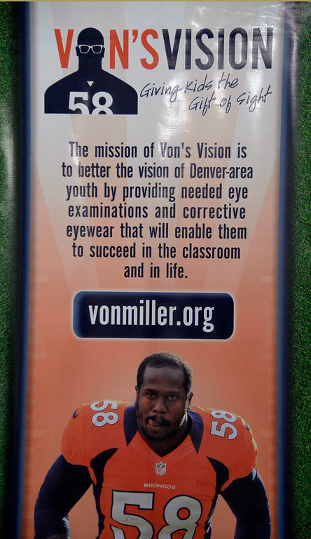 . Denver Broncos linebacker Von Miller participates in Von\'s Vision celebrating kids he provided glasses to through his foundation on Monday.  (Photo by John Leyba/The Denver Post)