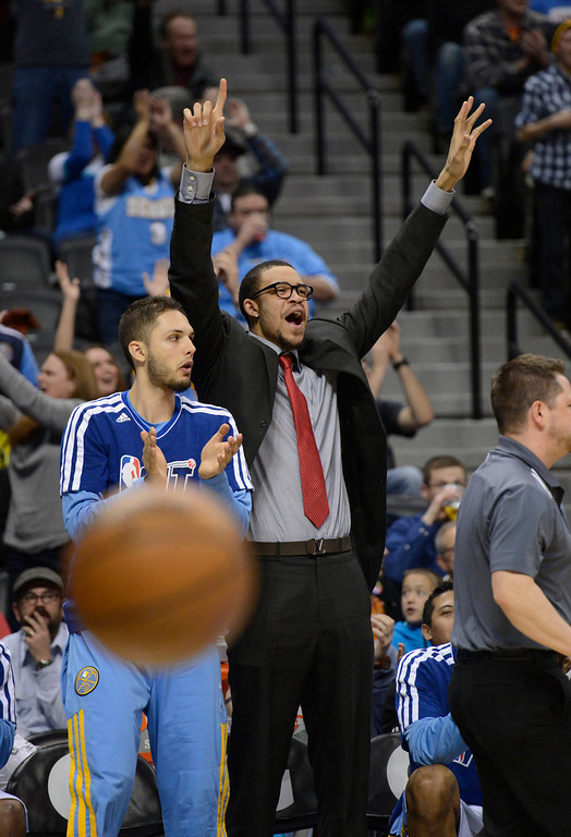 . DENVER, CO. - JANUARY 28: Denver Nuggets center JaVale McGee (34) and Denver Nuggets shooting guard Evan Fournier (94) celebrate a basket in the third quarter January 28, 2013 at Pepsi Center. The Denver Nuggets defeated  the Indiana Pacers 102-101 in NBA Action. (Photo By John Leyba / The Denver Post)