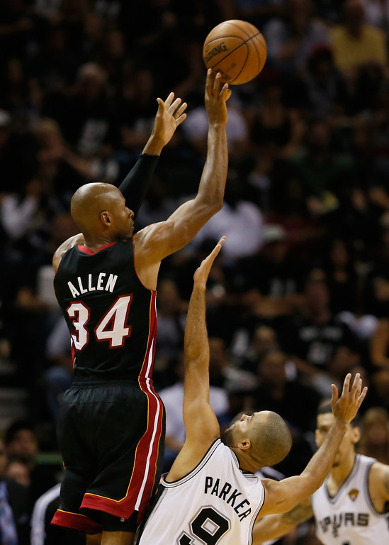 . Ray Allen #34 of the Miami Heat shoots over Tony Parker #9 of the San Antonio Spurs in the second quarter during Game Five of the 2013 NBA Finals at the AT&T Center on June 16, 2013 in San Antonio, Texas. (Photo by Kevin C. Cox/Getty Images)