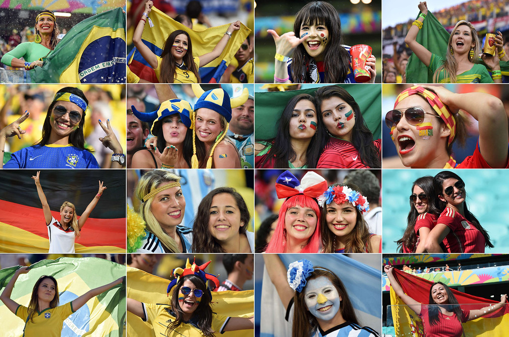 . A combination of pictures taken in June 2014 shows female supporters from various countries during the 2014 FIFA World Cup in Brazil. AFP PHOTO--/AFP/Getty Images