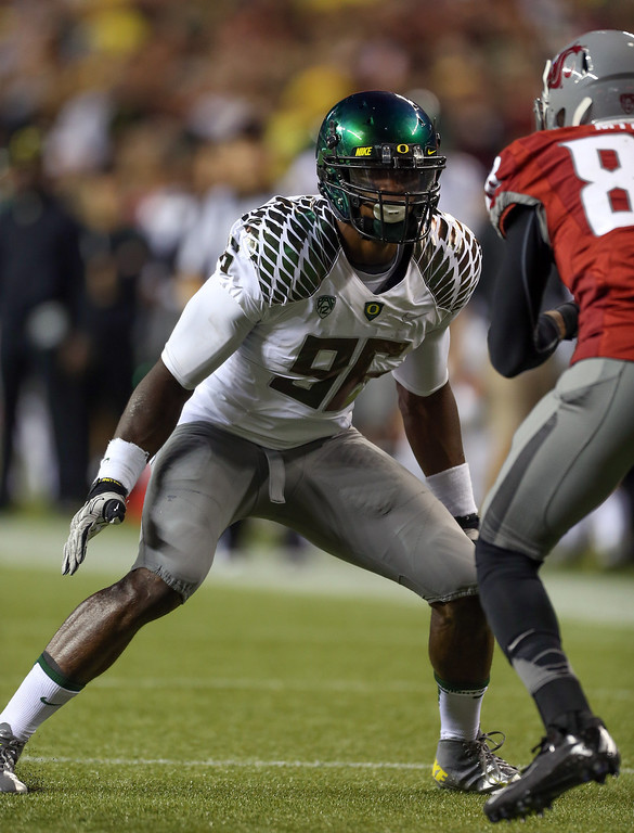 . Defensive end Dion Jordan #96 of the Oregon Ducks follows the play against the Washington State Cougars on September 29, 2012 at CenturyLink Field in Seattle, Washington.  (Photo by Otto Greule Jr/Getty Images)