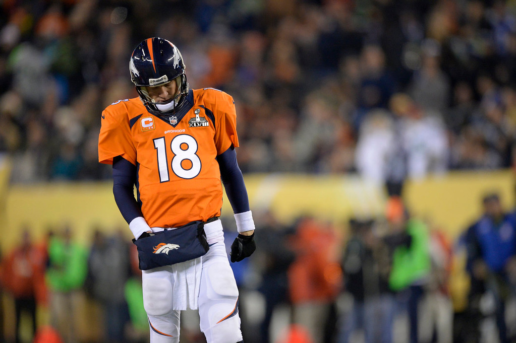 . Denver Broncos quarterback Peyton Manning (18) during the second quarter. The Denver Broncos vs the Seattle Seahawks in Super Bowl XLVIII at MetLife Stadium in East Rutherford, New Jersey Sunday, February 2, 2014. (Photo by John Leyba/The Denver Post)
