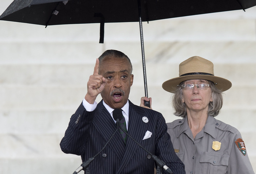 ". Reverend Al Sharpton speaks during the Let Freedom Ring Commemoration and Call to Action to commemorate the 50th anniversary of the March on Washington for Jobs and Freedom at the Lincoln Memorial in Washington, DC on August 28, 2013. Thousands will gather on the mall on the anniversary of the march and Dr. Martin Luther King, Jr.\'s famous ""I Have a Dream\"" speech.   SAUL LOEB/AFP/Getty Images"