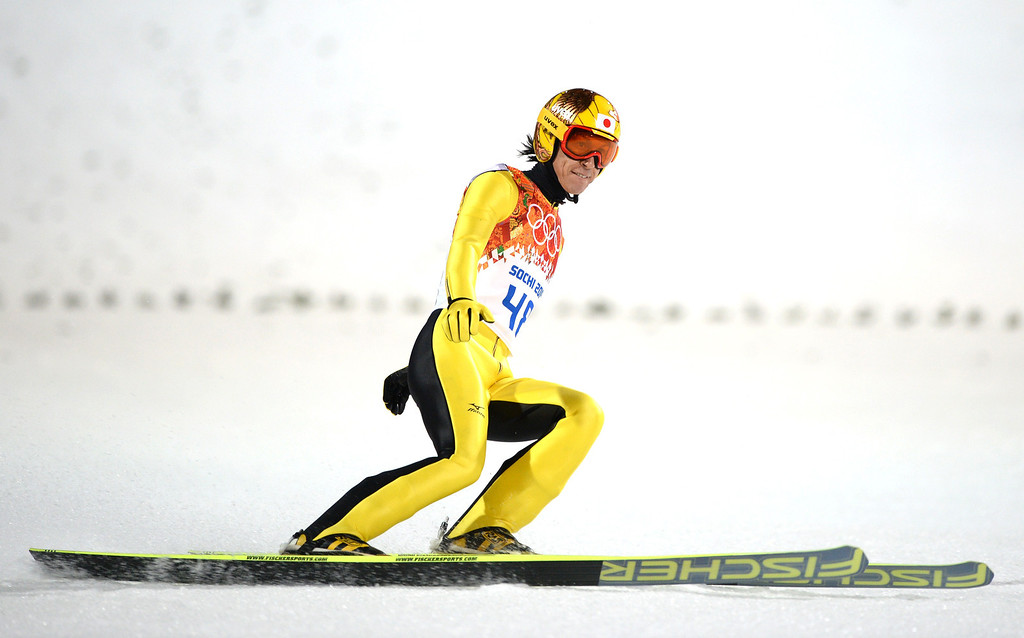 . Silver winner Japan\'s Noriaki Kasai  reacts in the finish area of the Men\'s Ski Jumping Large Hill Individual Final Round at the RusSki Gorki Jumping Center during the Sochi Winter Olympics on February 15, 2014, in Rosa Khutor. PETER PARKS/AFP/Getty Images