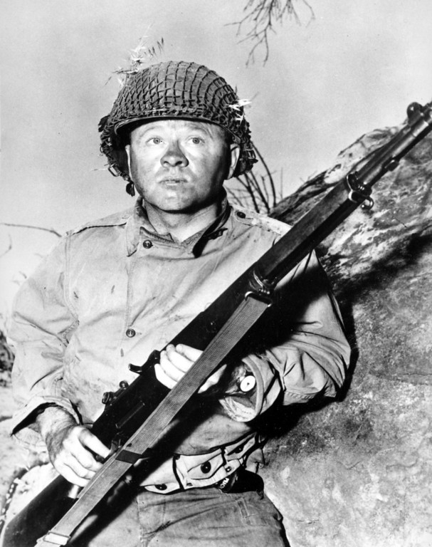 """. Actor Mickey Rooney is shown in this file photo as G.I. Dooley in the 1956 Hollywood movie \""""The Bold and the Brave.\""""(AP Photo/File)"""
