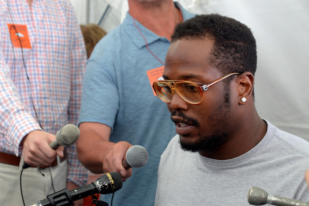 . Denver Broncos SLB Von Miller meets with the media as the team reports to camp JuLY 24, 2013 at Dove Valley.(Photo By John Leyba/The Denver Post)