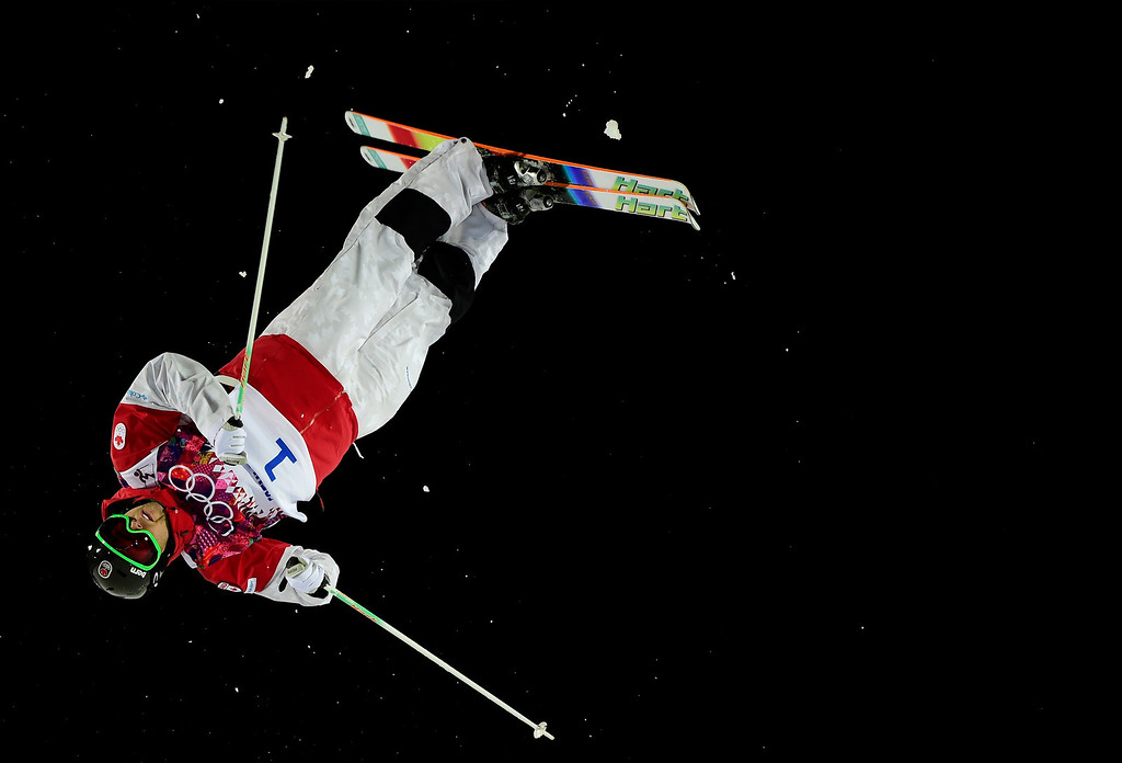 . Canada\'s Alex Bilodeau competes in the Men\'s Freestyle Skiing Moguls finals at the Rosa Khutor Extreme Park during the Sochi Winter Olympics on February 10, 2014.    JAVIER SORIANO/AFP/Getty Images