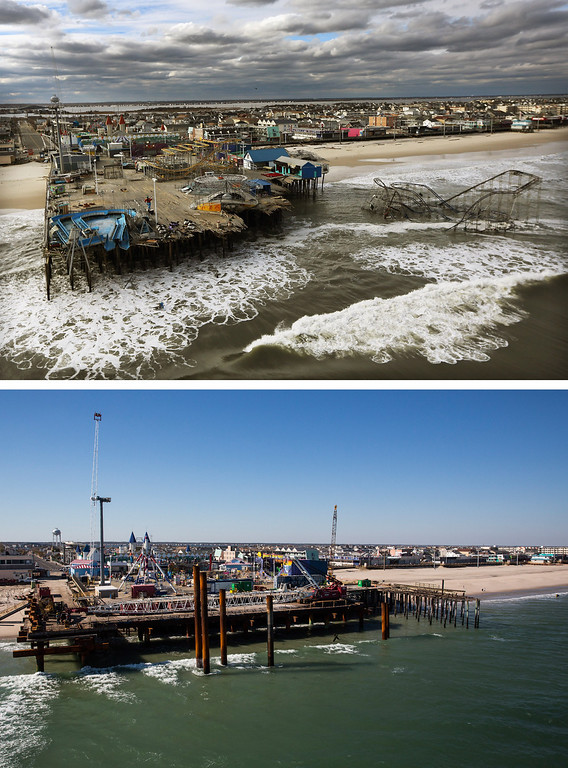 . SEASIDE HEIGHTS, NJ - OCTOBER 31: (top)  The boardwalk and amusement park in Seaside Heights, New Jersey is shown destroyed by Superstorm Sandy on October 31, 2012. (Photo by  Mario Tama/Getty Images)     SEASIDE HEIGHTS, NJ - OCTOBER 21: (bottom)   The boardwalk and amusement park in Seaside Heights, New Jersey is shown October 21, 2013.  Hurricane Sandy made landfall on October 29, 2012 near Brigantine, New Jersey and affected 24 states from Florida to Maine and cost the country an estimated $65 billion.  (Photo by Andrew Burton/Getty Images)