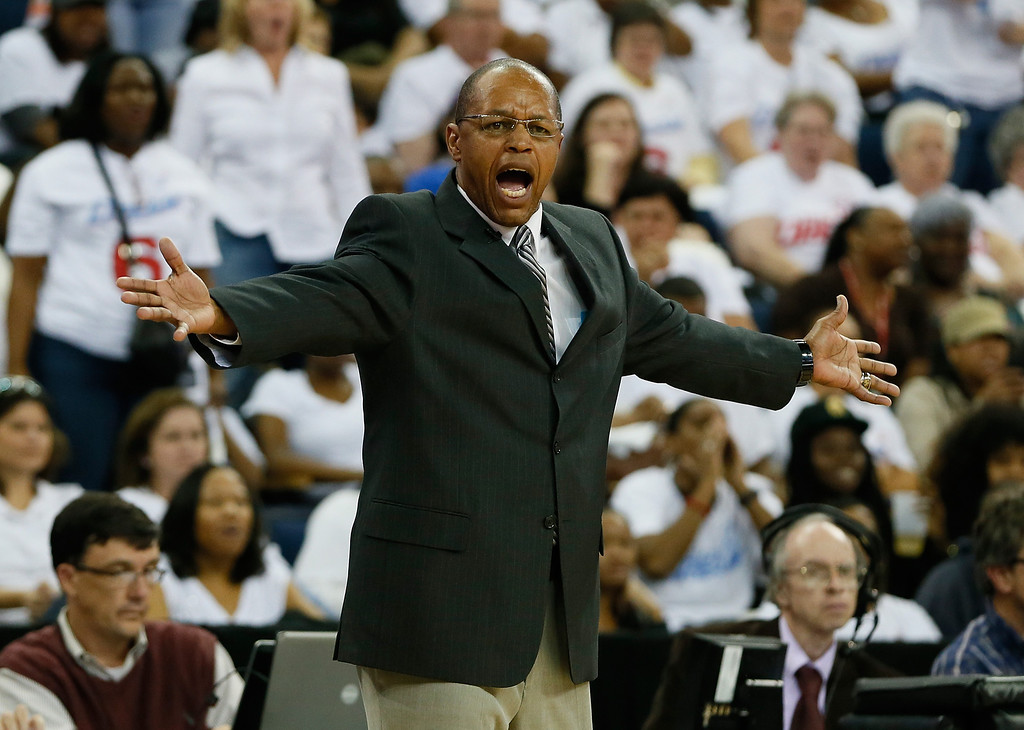 . ATLANTA, GA - OCTOBER 10:  Head coach Fred Williams of the Atlanta Dream questions a call by the officials against the Minnesota Lynx during Game Three of the 2013 WNBA Finals at Philips Arena on October 10, 2013 in Atlanta, Georgia.  (Photo by Kevin C. Cox/Getty Images)