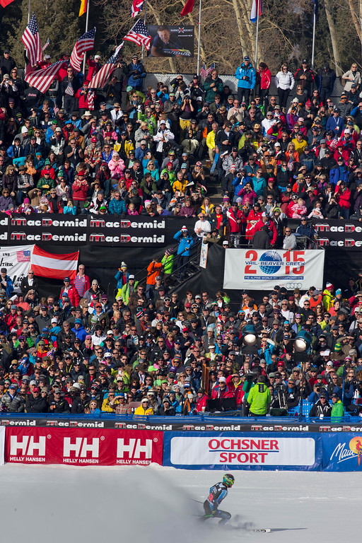 . Ted Ligety of the United States, skis into the finish area during the men\'s World Cup downhill ski race in Beaver Creek, Colo., on Friday, Nov. 30, 2012.  (AP Photo/Nathan Bilow)