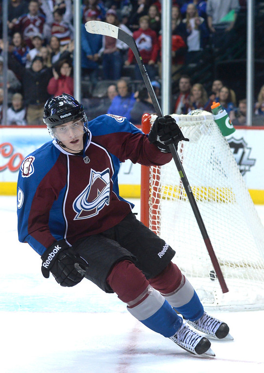 . DENVER, CO. - DECEMBER 19: Colorado center Matt Duchene added an empty-net goal late in the third period. The Colorado Avalanche defeated the Edmonton Oilers 4-2 Thursday night, December 19, 2013.  Photo By Karl Gehring/The Denver Post