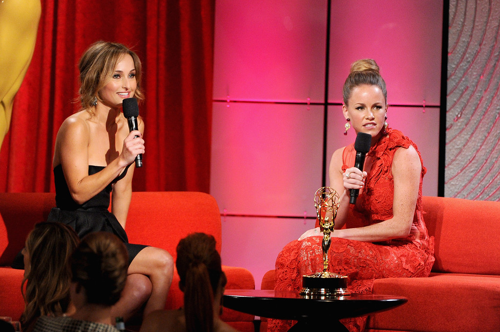 . (L-R) TV personality Giada De Laurentiis and actress Julie Marie Berman speak onstage during The 40th Annual Daytime Emmy Awards at The Beverly Hilton Hotel on June 16, 2013 in Beverly Hills, California.  (Photo by Kevin Winter/Getty Images)