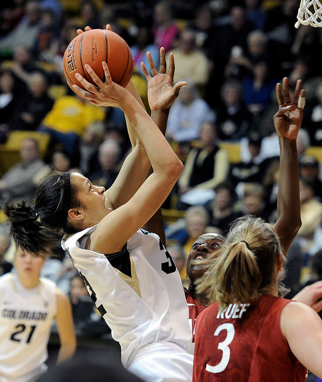 . University of Colorado\'s Arielle Roberson takes a shot over Chiney Ogwumike, and Mikaela Ruef, No. 3, during a game against Stanford on Friday, Jan. 4, at the Coors Event Center on the CU campus in Boulder.    Jeremy Papasso/Camera