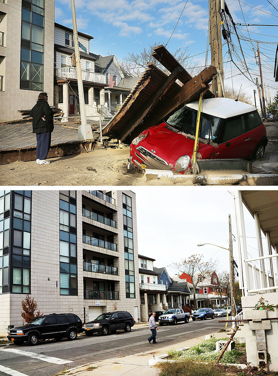 . NEW YORK, NY - OCTOBER 31:  (top) A woman looks at a damaged car, after Hurricane Sandy October 31, 2012 in the Queens borough of the Queens borough of New York City.   NEW YORK, NY - OCTOBER 20:  (bottom)  A man walk down a steet on October 20, 2013 in the Queens borough of the Queens borough of New York City. Hurricane Sandy made landfall on October 29, 2012 near Brigantine, New Jersey and affected 24 states from Florida to Maine and cost the country an estimated $65 billion.  (Photos by Spencer Platt/Getty Images)