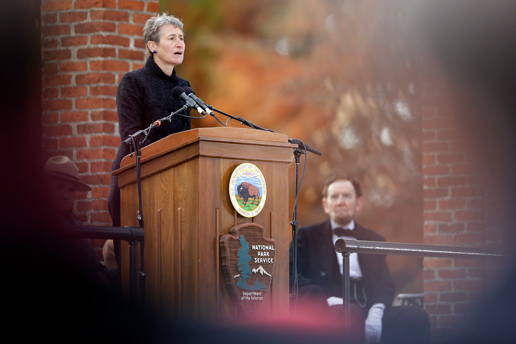 . Interior Secretary Sally Jewell speaks during a ceremony commemorating the 150th anniversary of the dedication of the Soldiers\' National Cemetery and President Abraham Lincoln\'s Gettysburg Address, Tuesday, Nov. 19, 2013, in Gettysburg, Pa.  (AP Photo/Matt Rourke)