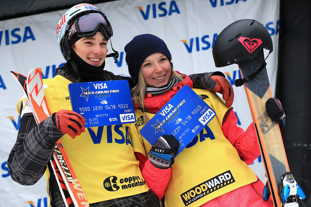 . (L-R) Nick Goepper of the United States and Dara Howell of Canada take the podium after secruing the overall points leaders jerseys in the FIS Slopestyle Ski World Cup at the U.S. Snowboarding and Freeskiing Grand Prix on December 21, 2013 in Copper Mountain, Colorado.  (Photo by Doug Pensinger/Getty Images)