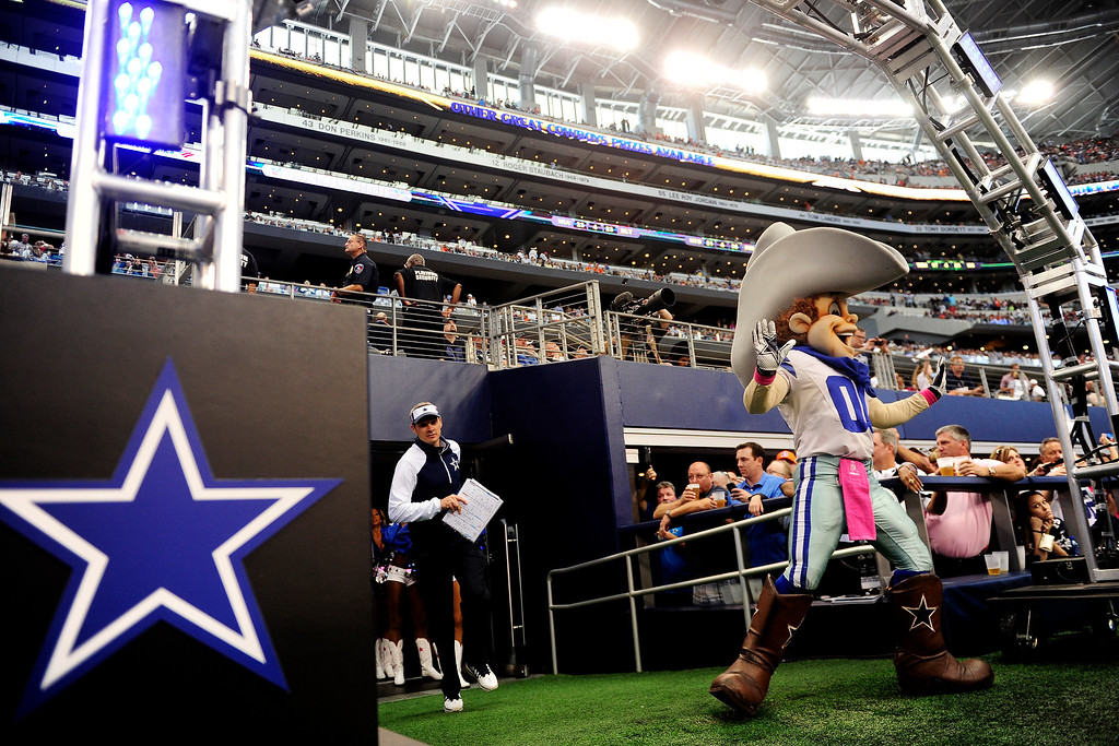 . Dallas Cowboys mascot Rowdy leads the team out onto the field before the first half. (Photo by AAron Ontiveroz/The Denver Post)