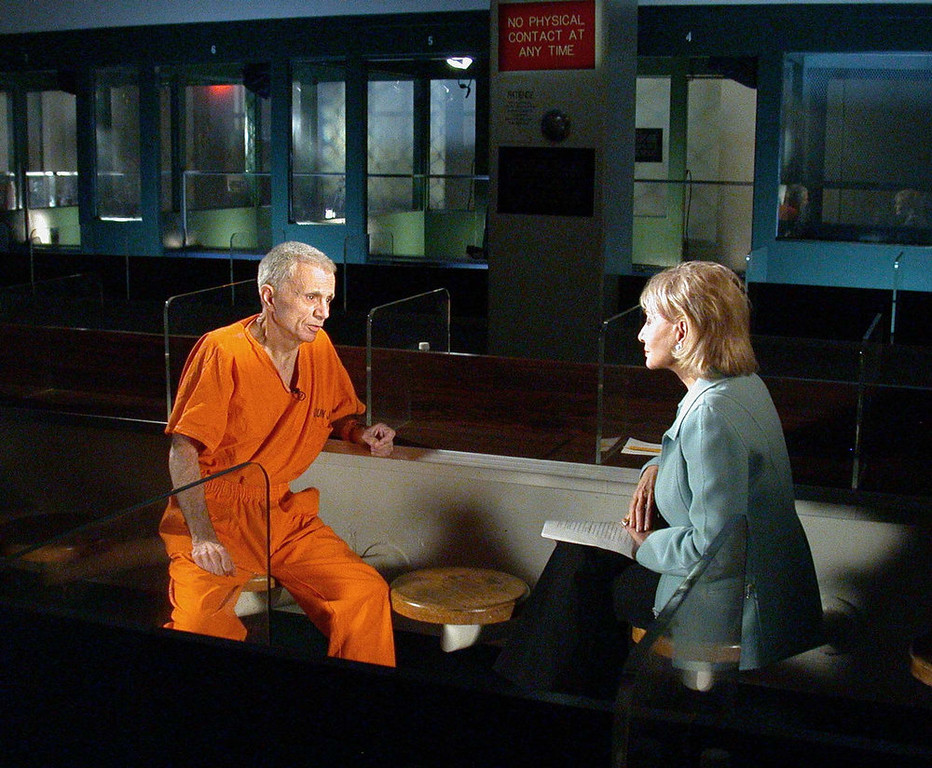 . Actor Robert Blake is interviewed  by ABC News\' Barbara Walters in the Los Angeles County Jail where he is being held in downtown Los Angeles, on Feb. 17, 2003. In an unusual move, Blake\'s attorney managed to have the actor testify on his own behalf during opening statements Tuesday, Dec. 21, 2004, at Blake\'s murder trial by showing jurors a videotape of a Barbara Walters interview. (AP Photo/ABC, Virginia Sherwood, File)