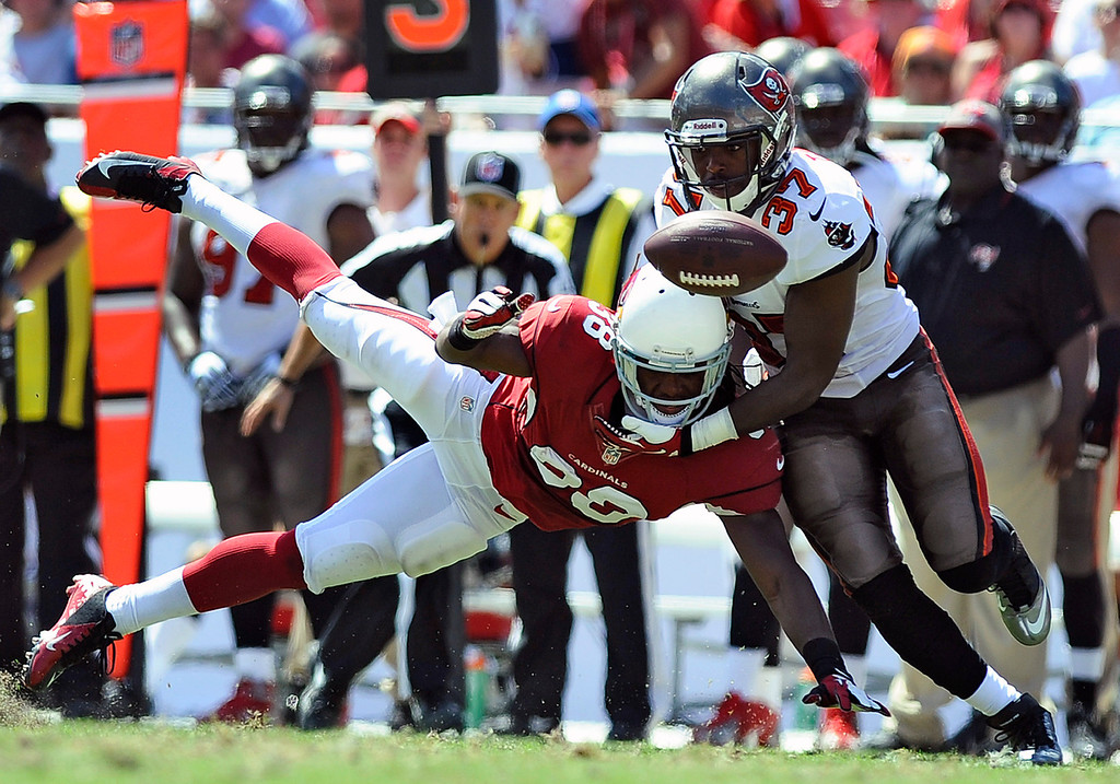 . =Arizona Cardinals running back Andre Ellington (38) cannot hang on to a pass as he is hit by Tampa Bay Buccaneers defensive back Keith Tandy (37) during the second quarter of an NFL football game on Sunday, Sept. 29, 2013, in Tampa, Fla. (AP Photo/Brian Blanco)