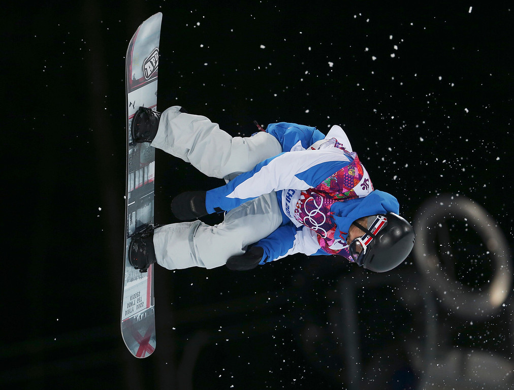 . France\'s Johann Baisamy competes during the men\'s snowboard halfpipe semifinal at the Rosa Khutor Extreme Park, at the 2014 Winter Olympics, Tuesday, Feb. 11, 2014, in Krasnaya Polyana, Russia.(AP Photo/Sergei Grits)