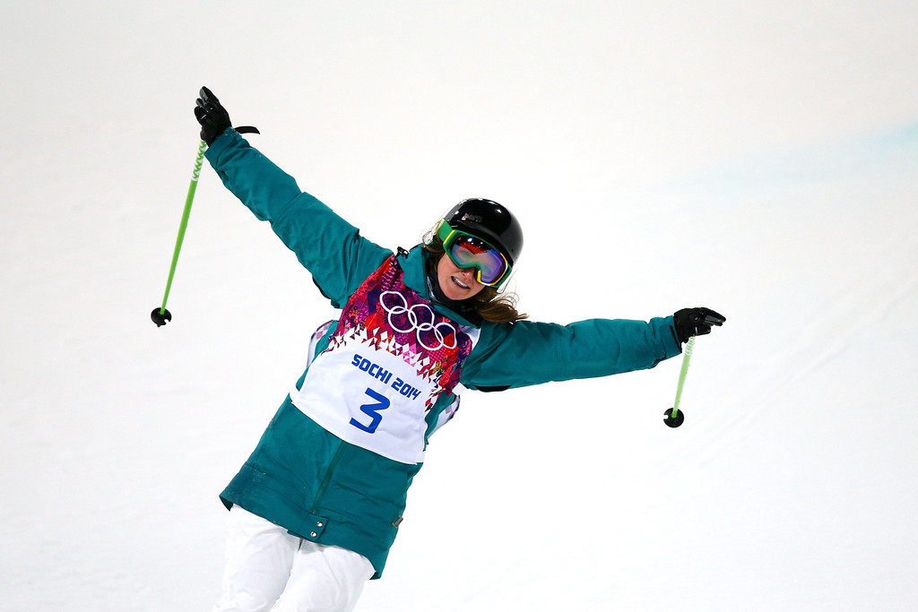 . Amy Sheehan of Australia reacts in the Freestyle Skiing Ladies\' Ski Halfpipe Finals on day thirteen of the 2014 Winter Olympics at Rosa Khutor Extreme Park on February 20, 2014 in Sochi, Russia.  (Photo by Cameron Spencer/Getty Images)
