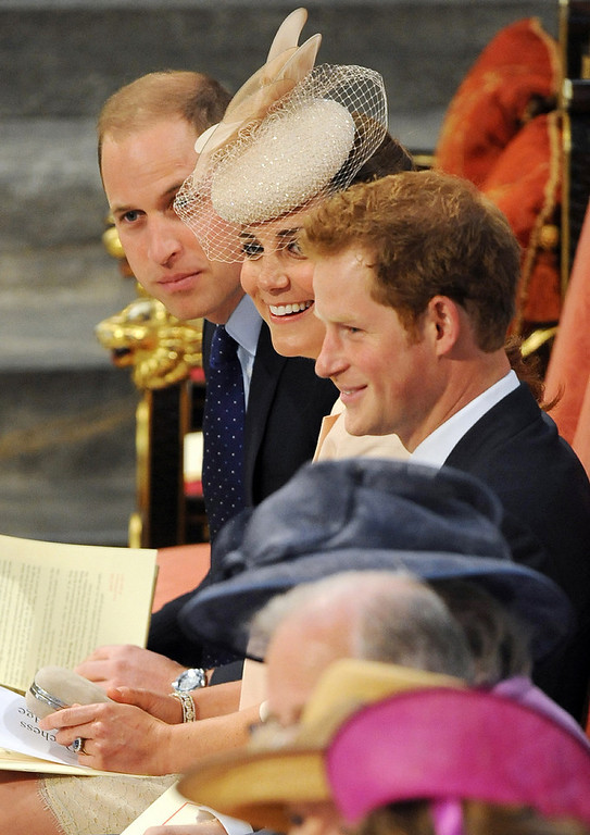 . Britain\'s Prince William (Top) Catherine, Duchess of Cambridge, (C) and Prince Harry (R) attend a service to celebrate the 60th anniversary of the Coronation of Queen Elizabeth II in Westminster Abbey in London, on June 4, 2013. The Queen marked the 60th anniversary of her coronation on Tuesday with a service at Westminster Abbey filled with references to the rainy day in 1953 when she was crowned. More than 2,000 guests crammed into the abbey for the service, attended by all the senior members of the royal family including Prince William and his heavily pregnant wife Catherine.  Anthony Devlin/AFP/Getty Images