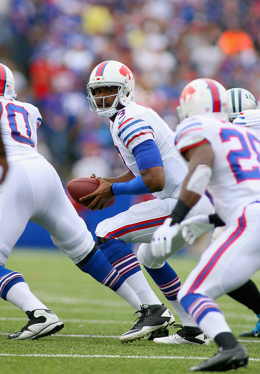 . EJ Manuel #3 of the Buffalo Bills looks to hand off against the Carolina Panthers at Ralph Wilson Stadium on September 15, 2013 in Orchard Park, New York.  (Photo by Rick Stewart/Getty Images)