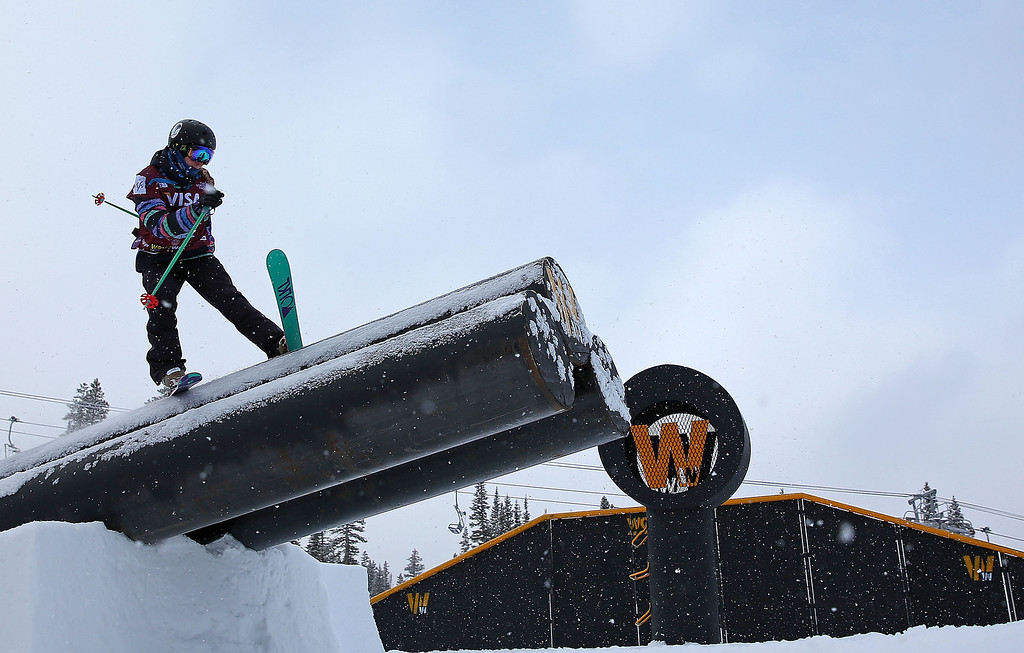 . Dominique Ohaco of Chile competes during qualifying for the women\'s FIS Ski Slopestyle World Cup at U.S. Snowboarding and Freeskiing Grand Prix on December 20, 2013 in Copper Mountain, Colorado.  (Photo by Mike Ehrmann/Getty Images)