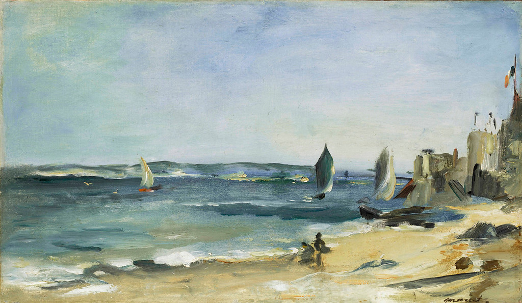 ". Edouard Manet, ""Marine a Arcachon,\"" 1871, oil on canvas, 9.75x16.5\""  (Image provided by the Denver Art Museum)"