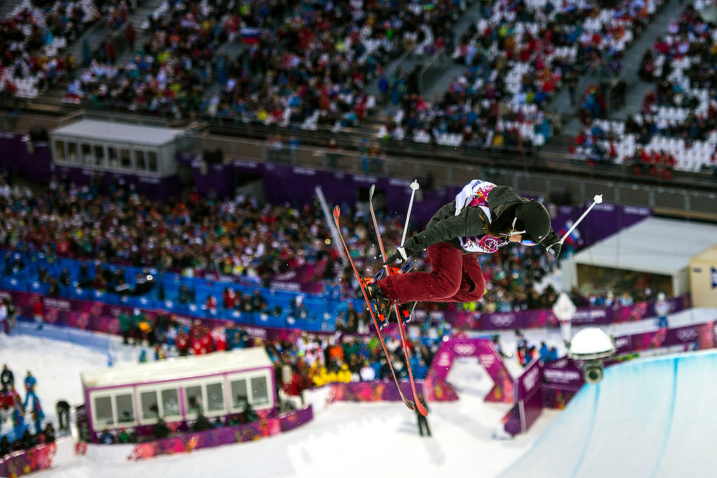 . KRASNAYA POLYANA, RUSSIA  - JANUARY 20: Russia\'s Natalya Makagonova competes in the Ladies\' Ski Halfpipe at Rosa Khutor Extreme Park during the 2014 Sochi Olympics Thursday February 20, 2014. Makagonova did not make the final round.  (Photo by Chris Detrick/The Salt Lake Tribune)