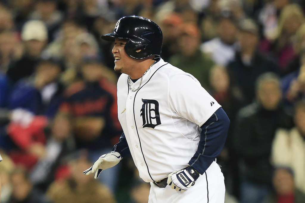 . Miguel Cabrera #24 of the Detroit Tigers reacts as he is out at home on a single by Jhonny Peralta #27 of the Detroit Tigers in the first inning against the Boston Red Sox during Game Five of the American League Championship Series at Comerica Park on October 17, 2013 in Detroit, Michigan.  (Photo by Jamie Squire/Getty Images)