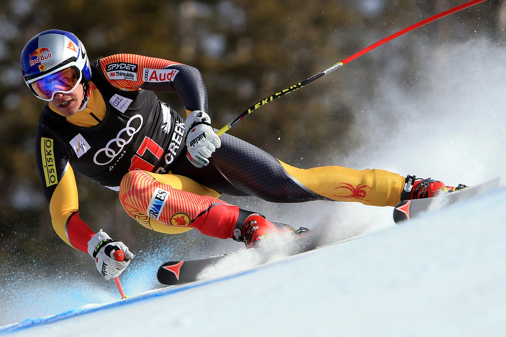 . Erik Guay of Canada skis to 15th place in the men\'s downhill on the Birds of Prey at the Audi FIS World Cup on November 30, 2012 in Beaver Creek, Colorado.  (Photo by Doug Pensinger/Getty Images)