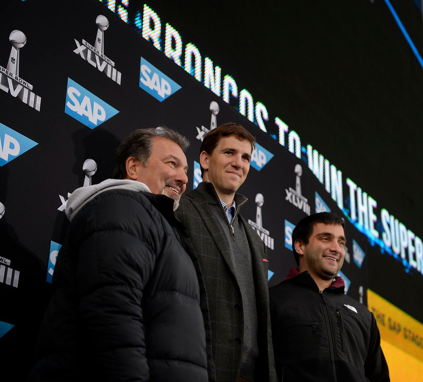 . Eli Manning poses with fans outside of the stadium prior to the game.  The Denver Broncos vs the Seattle Seahawks in Super Bowl XLVIII at MetLife Stadium in East Rutherford, New Jersey Sunday, February 2, 2014. (Photo by AAron Ontiveroz/The Denver Post)