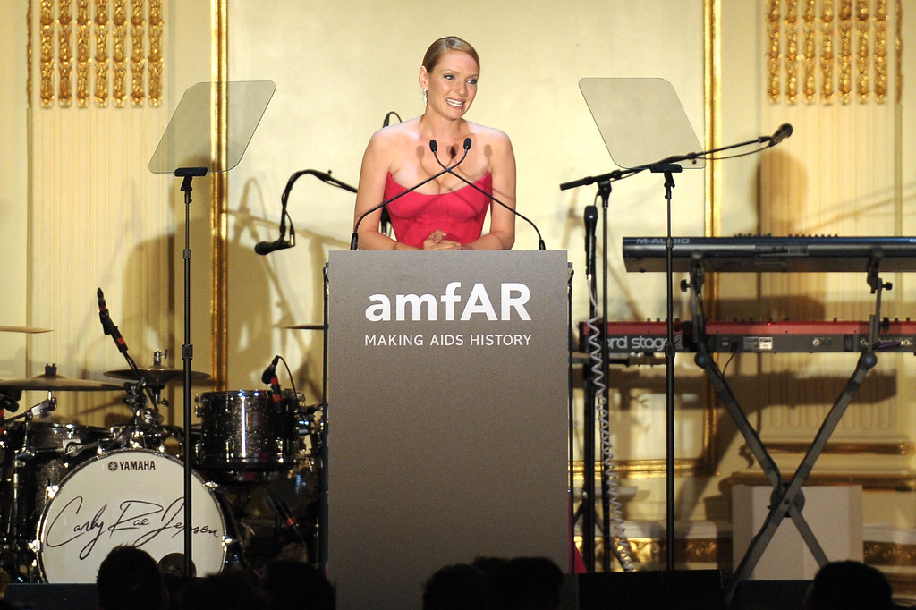 . NEW YORK, NY - JUNE 13:  Uma Thurman speaks on stage during the 4th Annual amfAR Inspiration Gala New York at The Plaza Hotel on June 13, 2013 in New York City.  (Photo by Michael Loccisano/Getty Images)