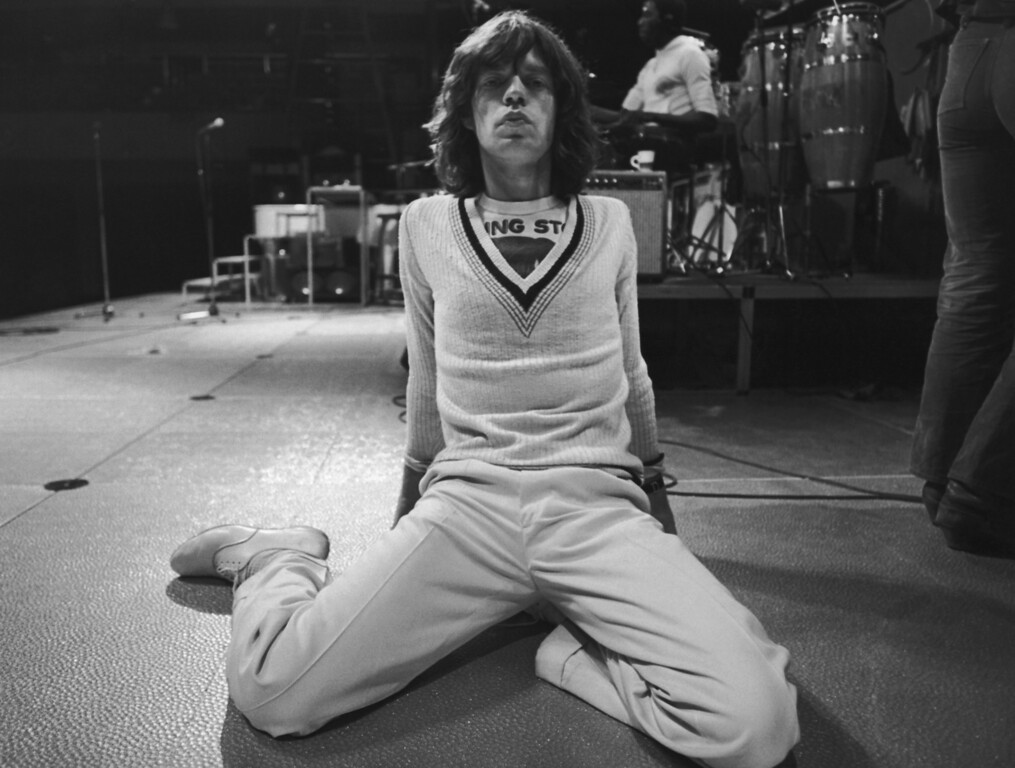 . Singer Mick Jagger of the Rolling Stones at rehearsals for a British concert, 1975. (Photo by Daily Express/Hulton Archive/Getty Images)