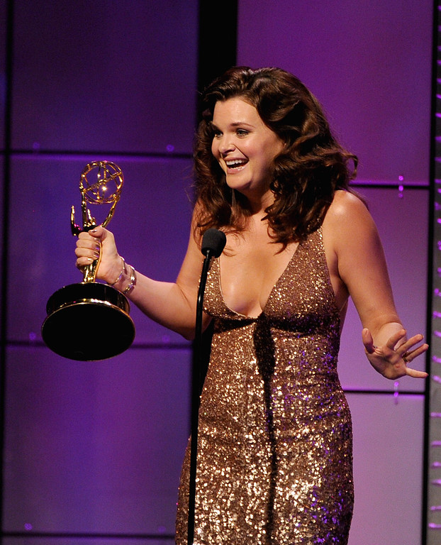 ". Actress Heather Tom accepts the Outstanding Lead Actress in a Drama Series award for ""The Bold and the Beautiful\""  onstage during The 40th Annual Daytime Emmy Awards at The Beverly Hilton Hotel on June 16, 2013 in Beverly Hills, California.  (Photo by Kevin Winter/Getty Images)"