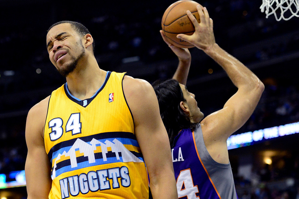 . JaVale McGee (34) of the Denver Nuggets reacts to being called for a foul during the first half of action. The Denver Nuggets play the New York Knicks at the Pepsi Center. (Photo by AAron Ontiveroz/The Denver Post)