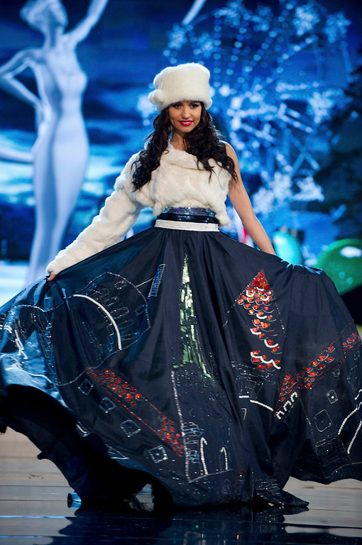 . Miss Estonia Natalie Korneitsik performs onstage at the 2012 Miss Universe National Costume Show at PH Live in Las Vegas, Nevada December 14, 2012. The 89 Miss Universe contestants will compete for the Diamond Nexus Crown on December 19, 2012. REUTERS/Darren Decker/Miss Universe Organization L.P./Handout