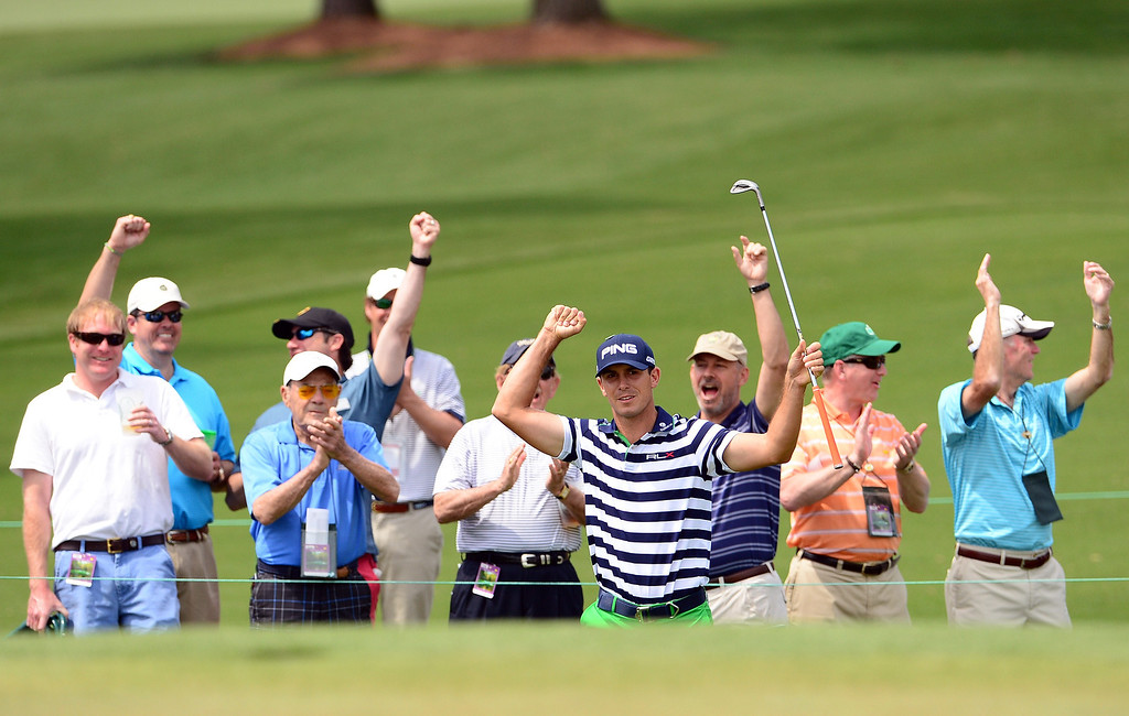 . Billy Horschel of the US celebrates after hitting eagle during the second round of the 78th Masters Golf Tournament at Augusta National Golf Club on April 11, 2014 in Augusta, Georgia. AFP PHOTO/Emmanuel DUNAND/AFP/Getty Images