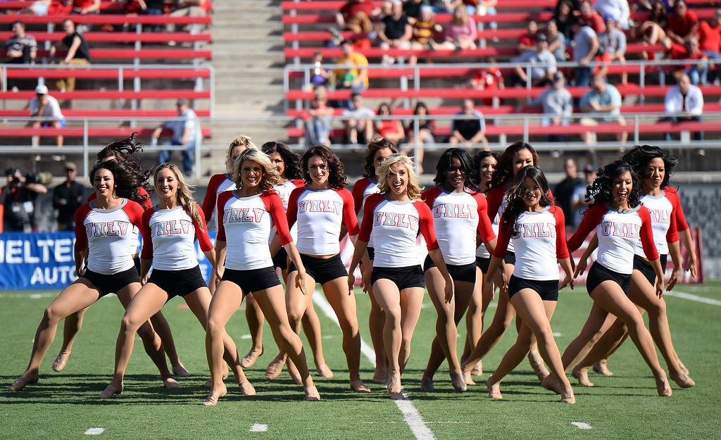 . Members of the UNLV Rebels dance team perform during the Rebels\' game against the San Jose State Spartans at Sam Boyd Stadium on November 2, 2013 in Las Vegas, Nevada. San Jose State won 34-24.  (Photo by Ethan Miller/Getty Images)