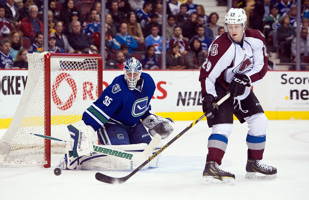 . Nathan MacKinnon #29 of the Colorado Avalanche tries to redirect a shot onto goalie Jacob Markstrom #35 of the Vancouver Canucks during the first period in NHL action on April 10, 2014 at Rogers Arena in Vancouver, British Columbia, Canada.  (Photo by Rich Lam/Getty Images)