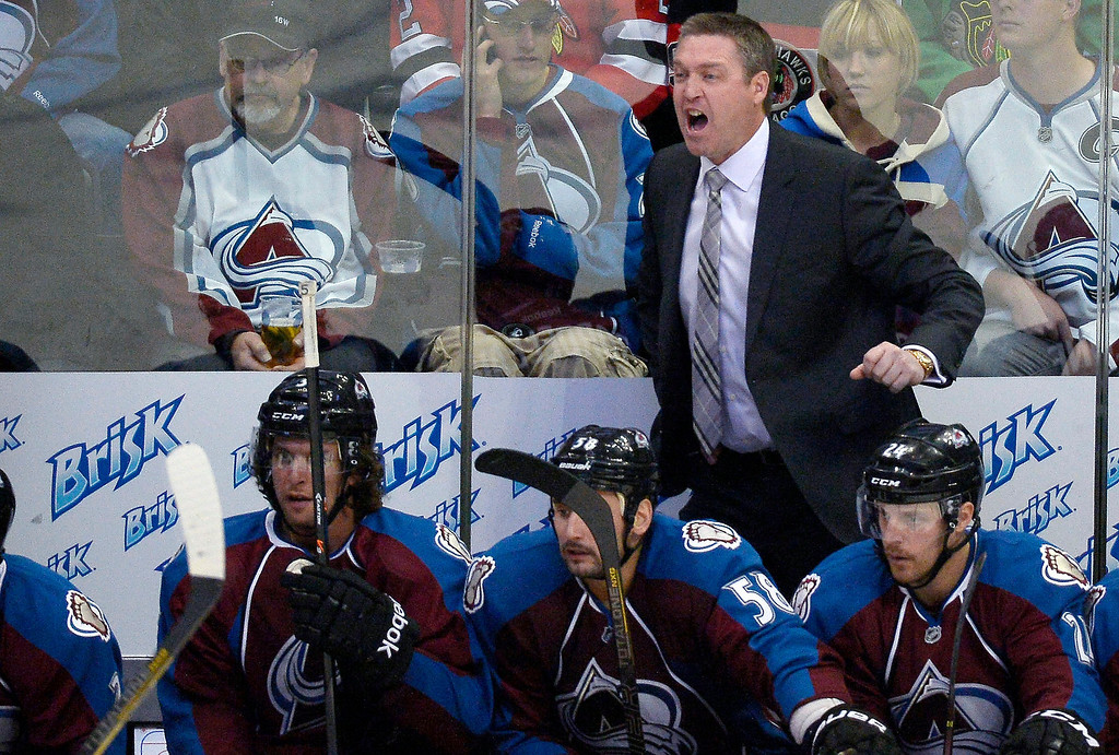 . Colorado Avalanche head coach Patrick Roy yells out to the team during the second period agains the Chicago Blackhawks November 19, 2013 at Pepsi Center. (Photo by John Leyba/The Denver Post)
