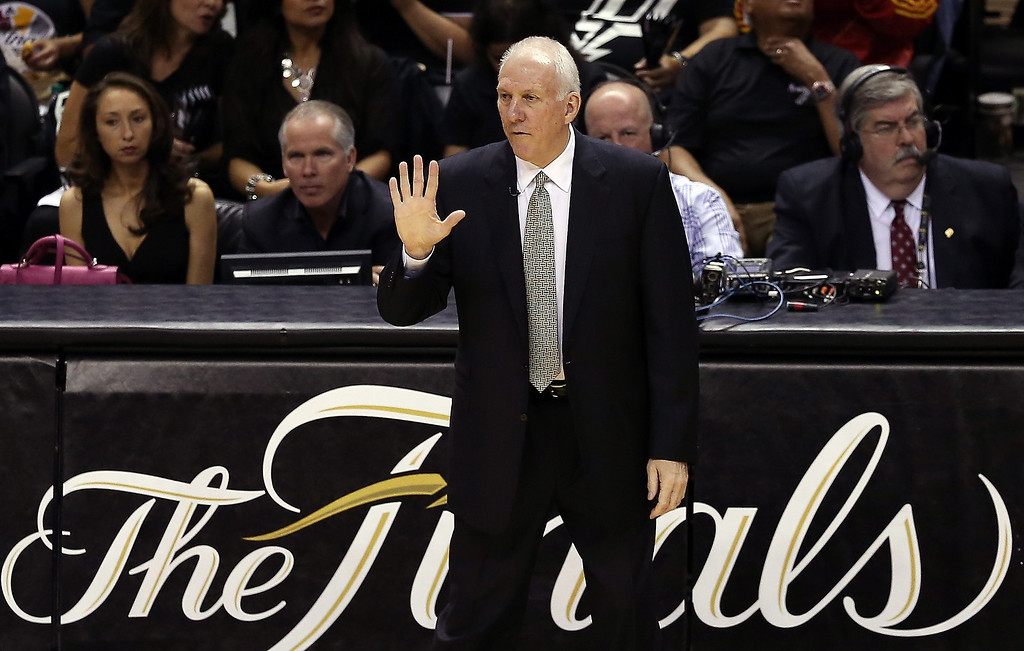 . Head coach Gregg Popovich of the San Antonio Spurs calls out in the first quarter while taking on the Miami Heat during Game Three of the 2013 NBA Finals at the AT&T Center on June 11, 2013 in San Antonio, Texas.   (Photo by Christian Petersen/Getty Images)