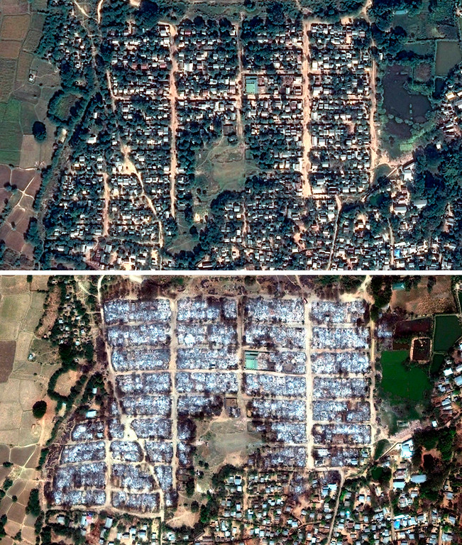 . In this combination of satellite images released by Human Rights Watch on Monday, April 1, 2013, a residential area in Meikhtila, Myanmar, is shown on Thursday, Dec. 13, 2012, top, and on Wednesday, March 27, 2013. New York-based Human Rights Watch released before and after satellite images showing the destruction of entire neighborhoods in recent riots. (AP Photo/Human Rights Watch/EUSI/DigitalGlobe and ASTRIUM)