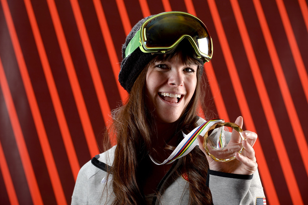 . Freeskier Keri Herman poses for a portrait with her FIS World Cup Slopestyle Overall Gold Medal from 2012/2013 during the USOC Media Summit ahead of the Sochi 2014 Winter Olympics on October 1, 2013 in Park City, Utah.  (Photo by Harry How/Getty Images)
